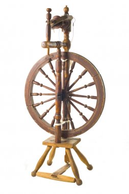 Antique vintage spinning-wheel,a distaff