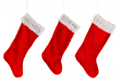 Three traditional red Christmas Stocking