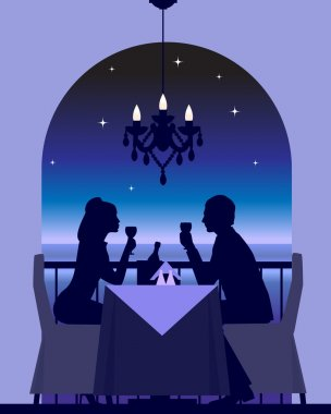 An elegant couple enjoying a romantic dinner date stock vector