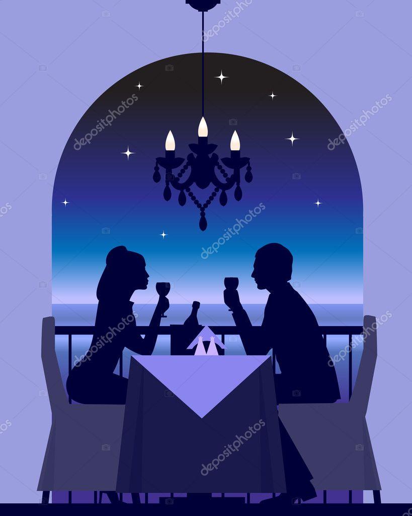 An elegant couple enjoying a romantic dinner date stock vector