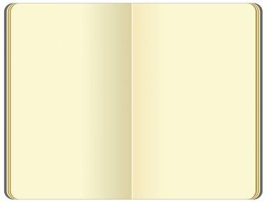 Opened blank moleskin note book