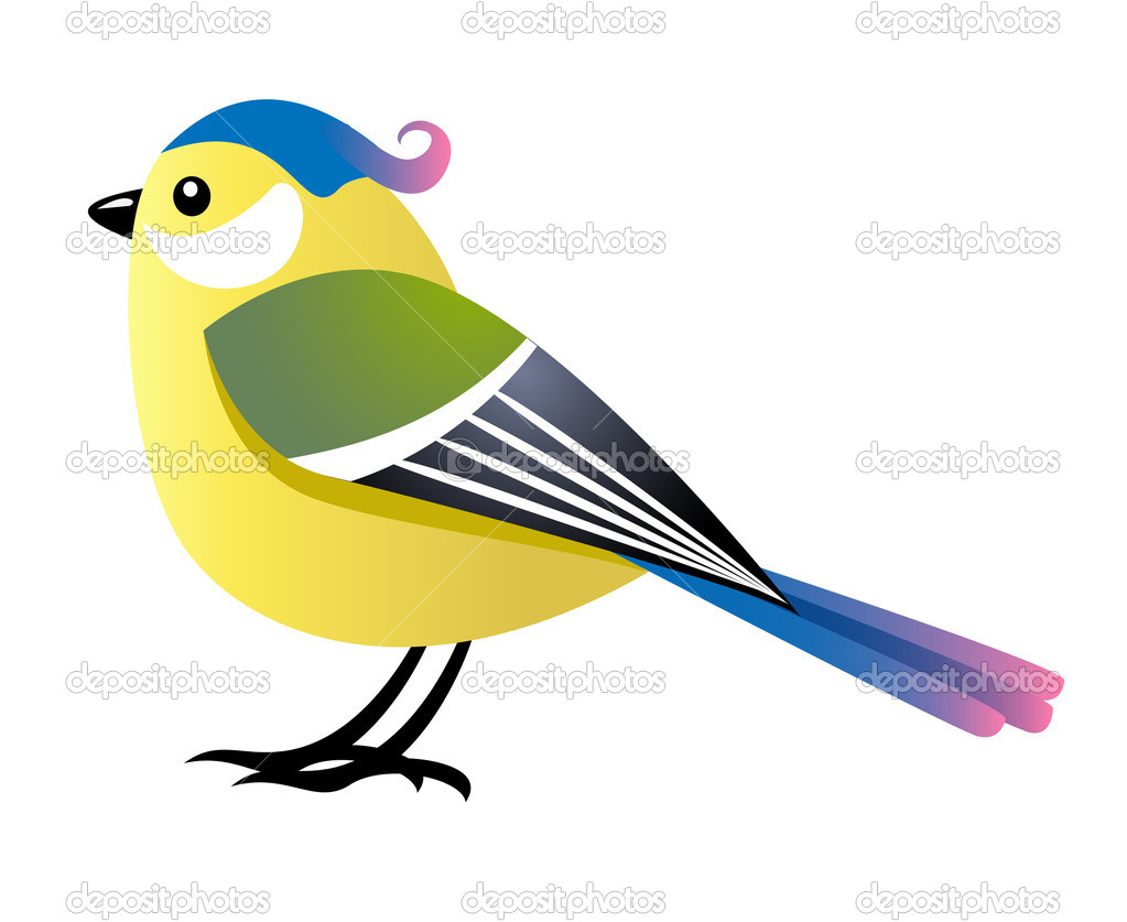 Cute cartoon female bird