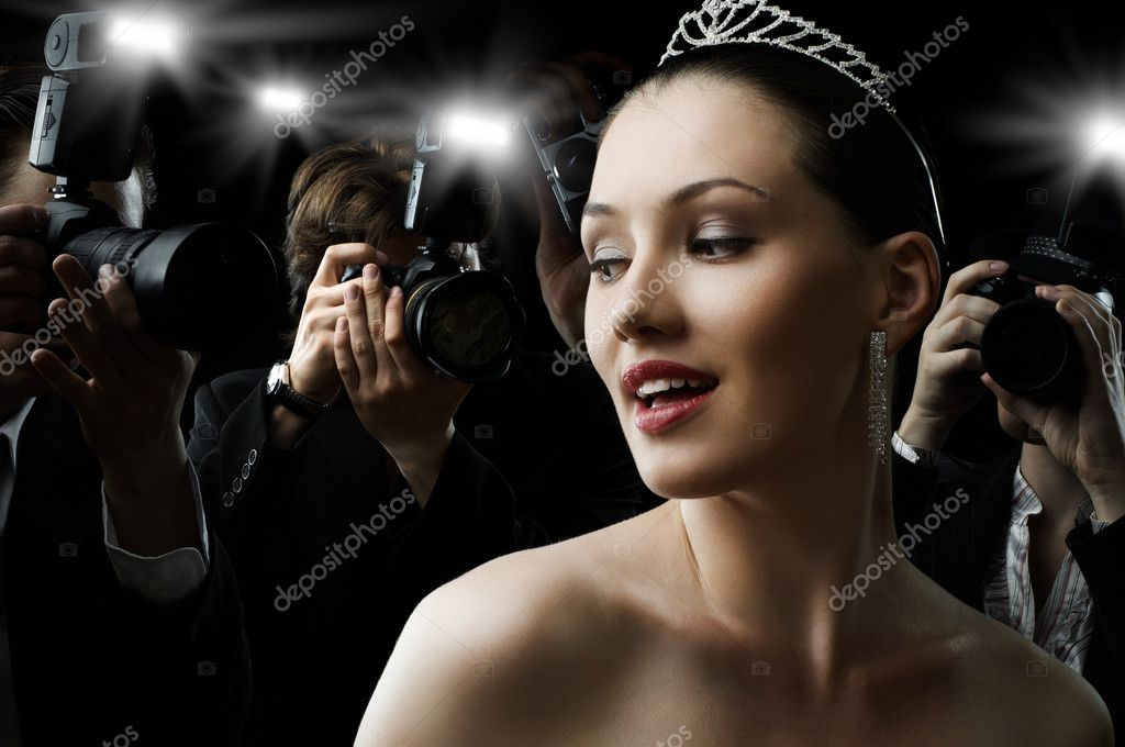 Photographers are taking a picture of a film star stock vector