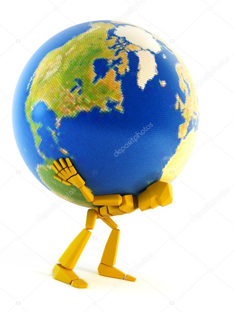 man carrying the earth stock photo auriso 3249235
