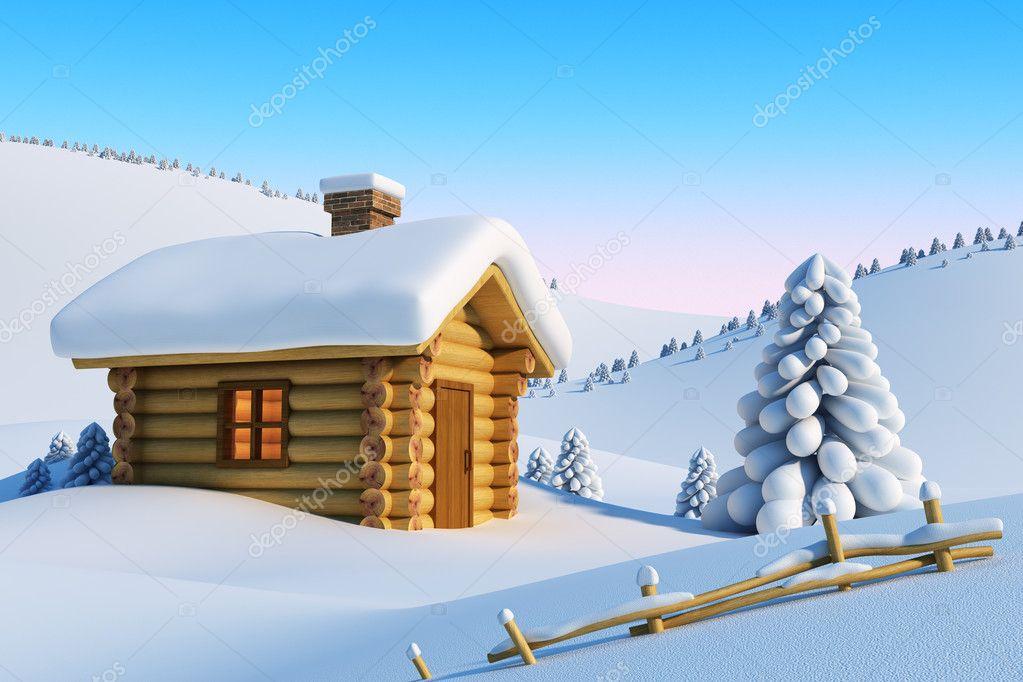Casa in montagna neve foto stock auriso 3305061 for Piani casa montagna colorado