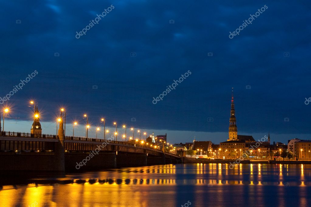 Night scene with city river and sky