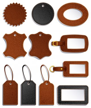 Vector illustration - set of leather luggage labels and tag stock vector
