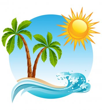 Vector illustration - Two palm-tree on the tropical island clip art vector