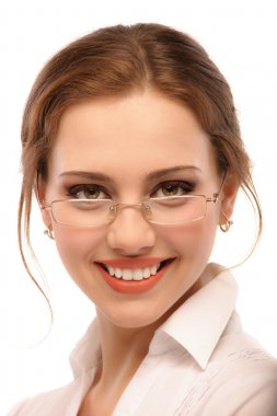 Portrait of smiling business woman in glasses