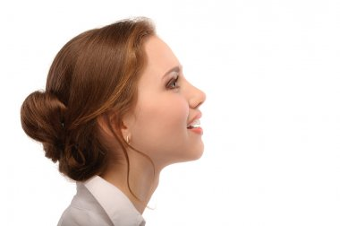 Portrait of beautiful business woman in profile