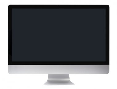 Metallic apple imac computer with flat-screen panel isolated with clipping path over white background stock vector