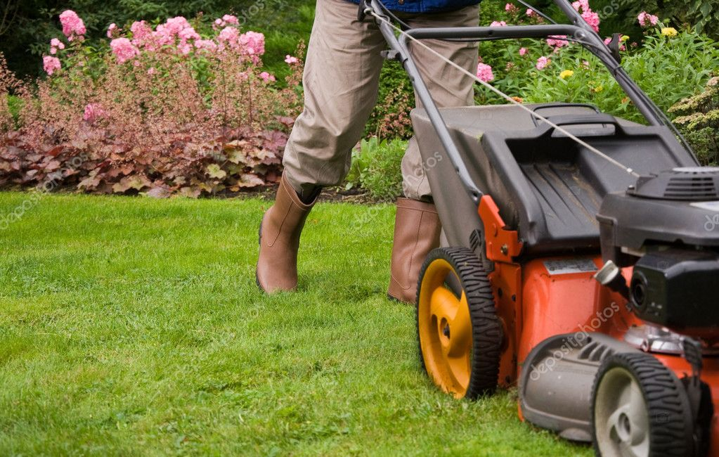 Senior man mowing the lawn