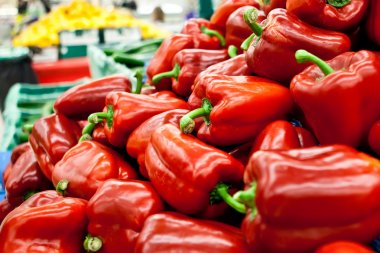 Picture of fresh bell peppers and other vegetabl