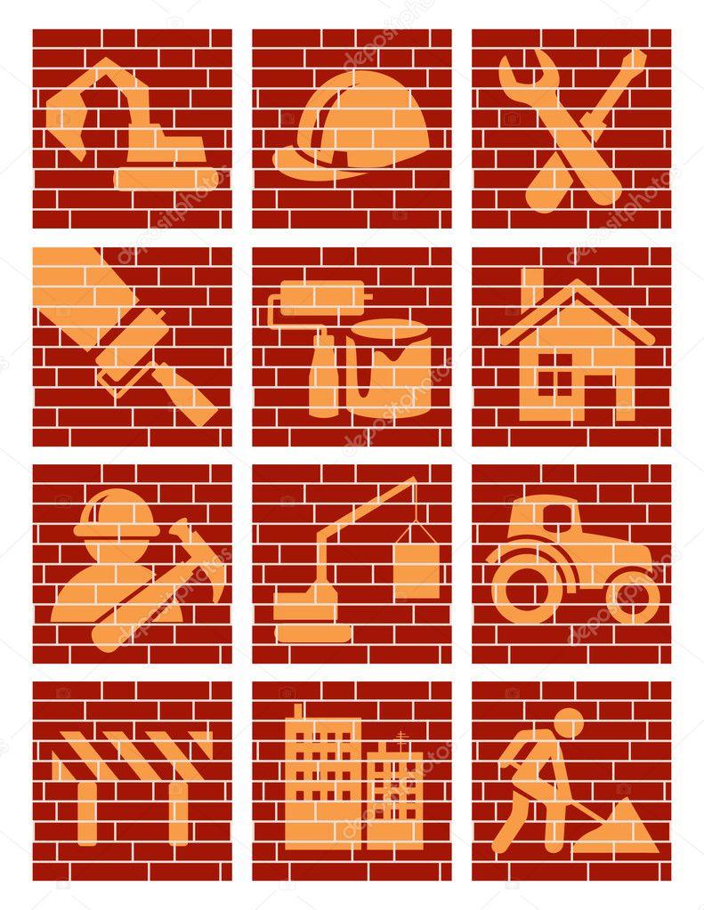 building brick icons stock vector alegria 3748653. Black Bedroom Furniture Sets. Home Design Ideas