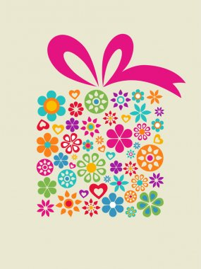 Present box with floral pattern clip art vector