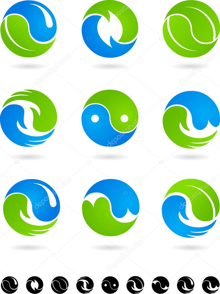 Conceptual Yin Yang symbols