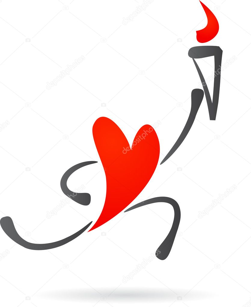 Heart Character With A Torch Stock Vector Marish 3037841