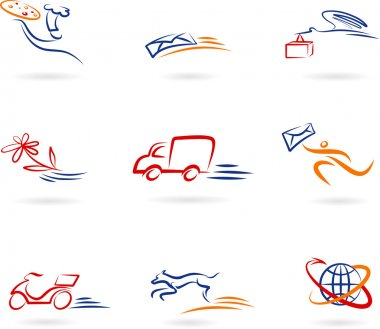 Collection of delivery and post icons and logos stock vector