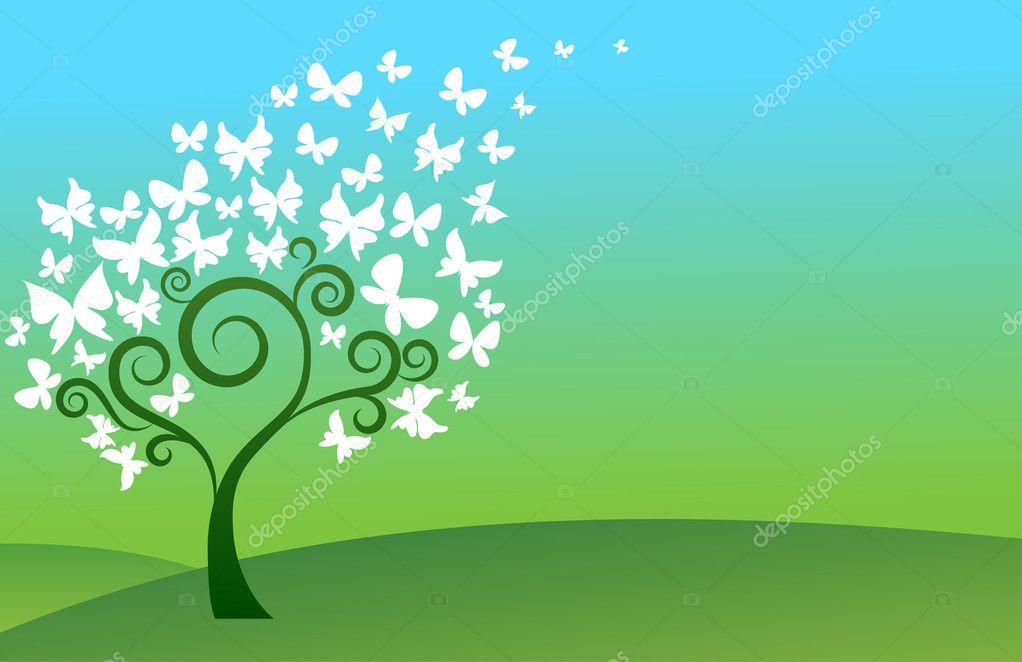 Green butterfly tree