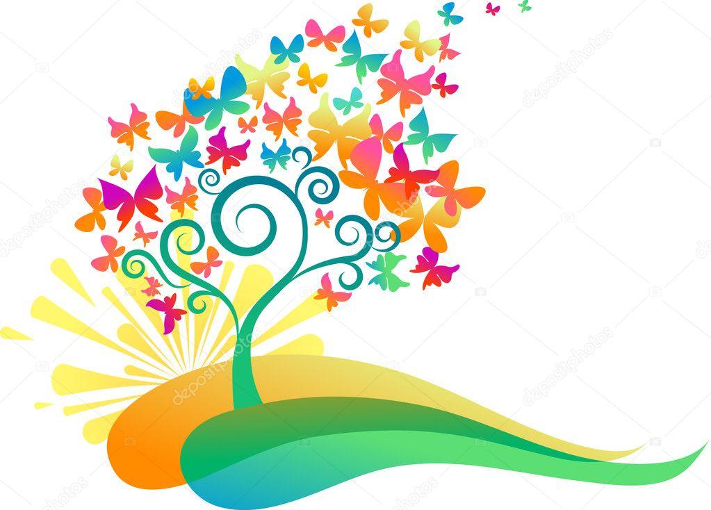 Sunrise butterflies tree
