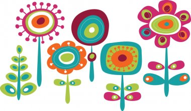 Cute colorful flowers, childish vector illustration clip art vector