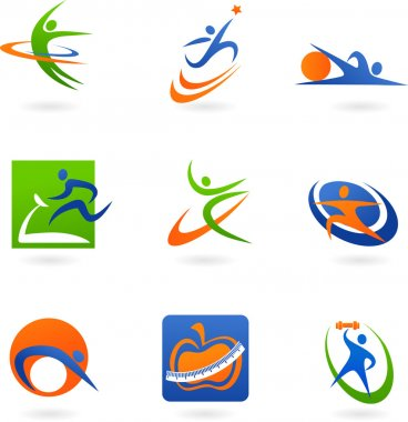 Colorful fitness icons and logos