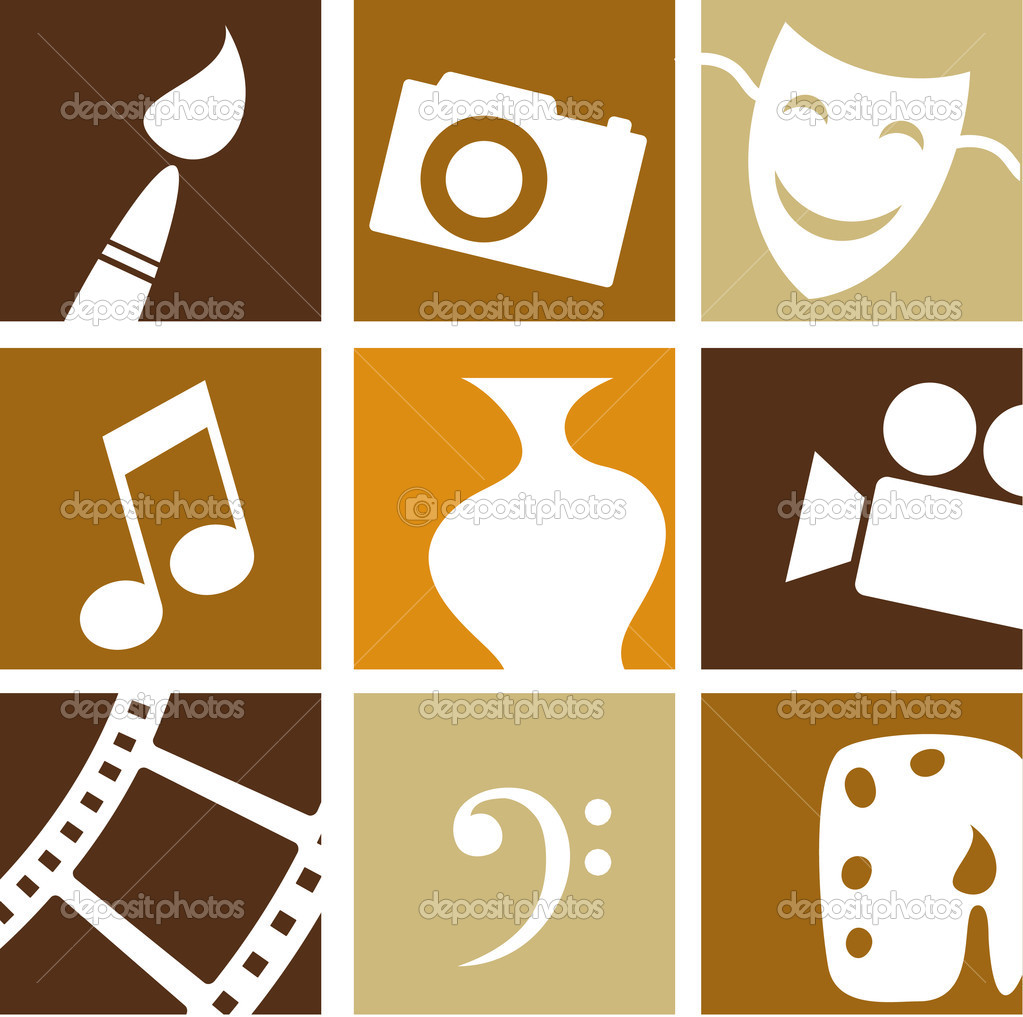 Collection of creative arts icons and logos stock vector