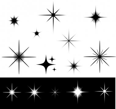 Black and white stars stock vector