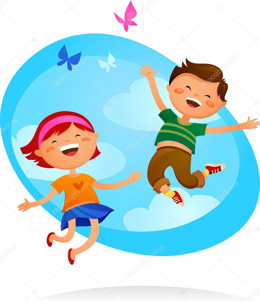 Happy Child Clip Art Happy kids jump...