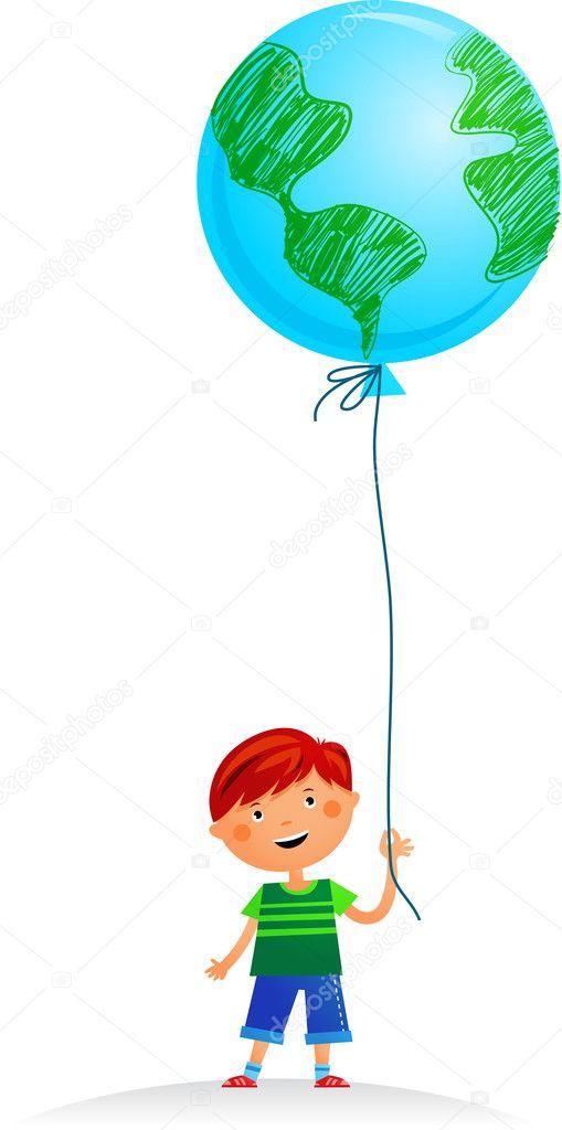A girl with Earth balloon