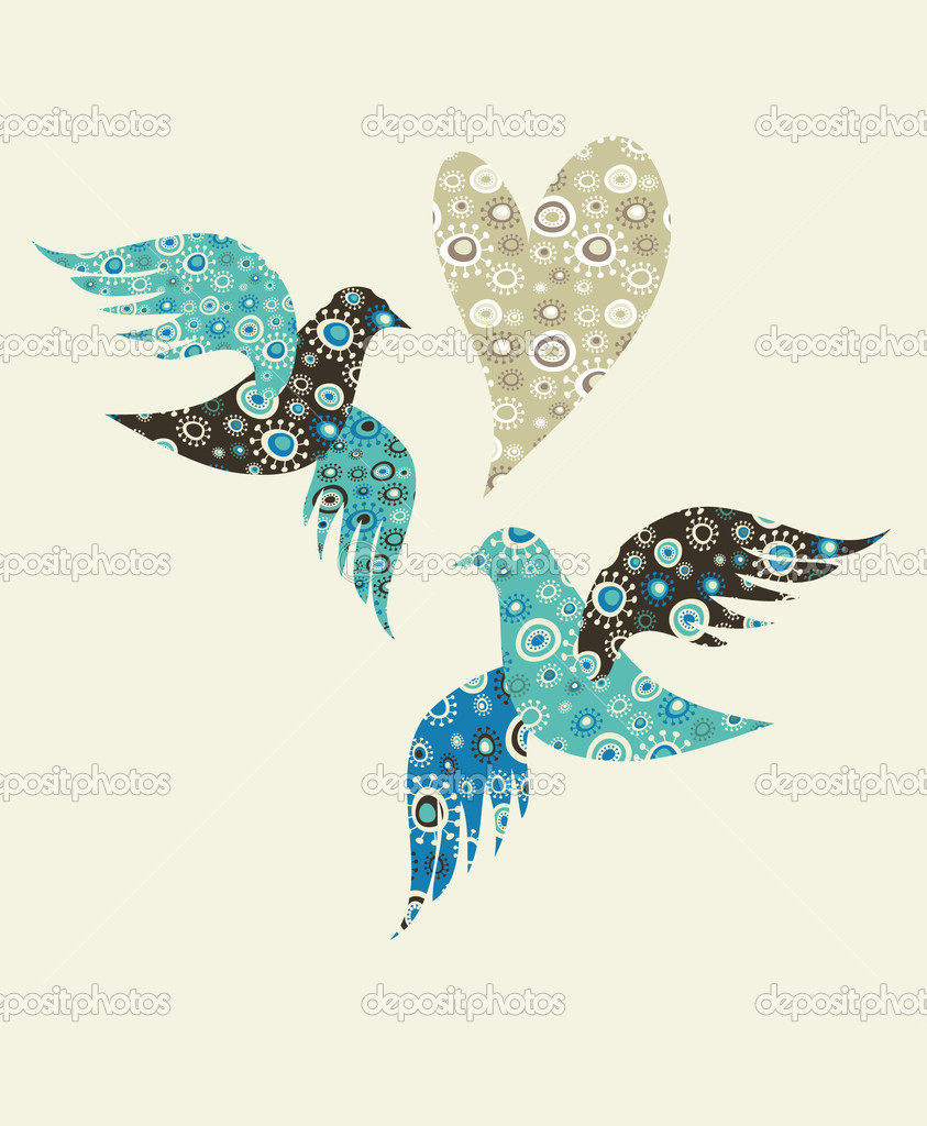 Two doves and a heart