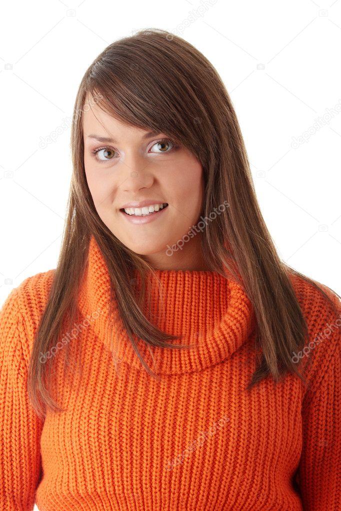 f6fa68724bb656 donna adolescente in maglione arancione — Foto Stock ...