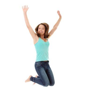 Jumping student girl