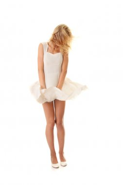 Woman in white skirt