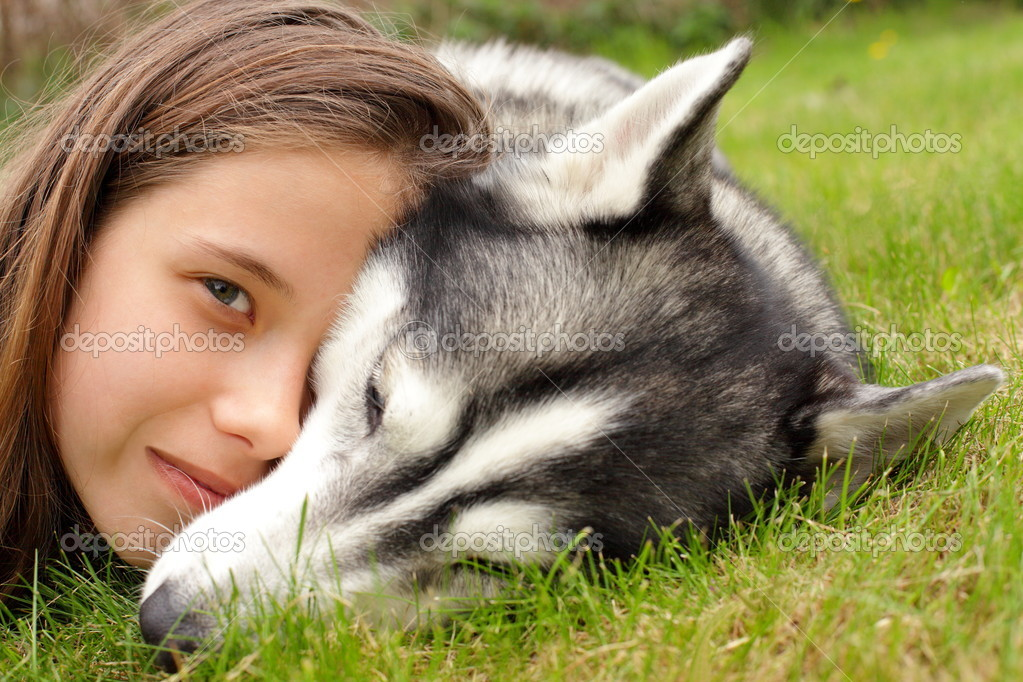 Young girl and her friend, siberian husky