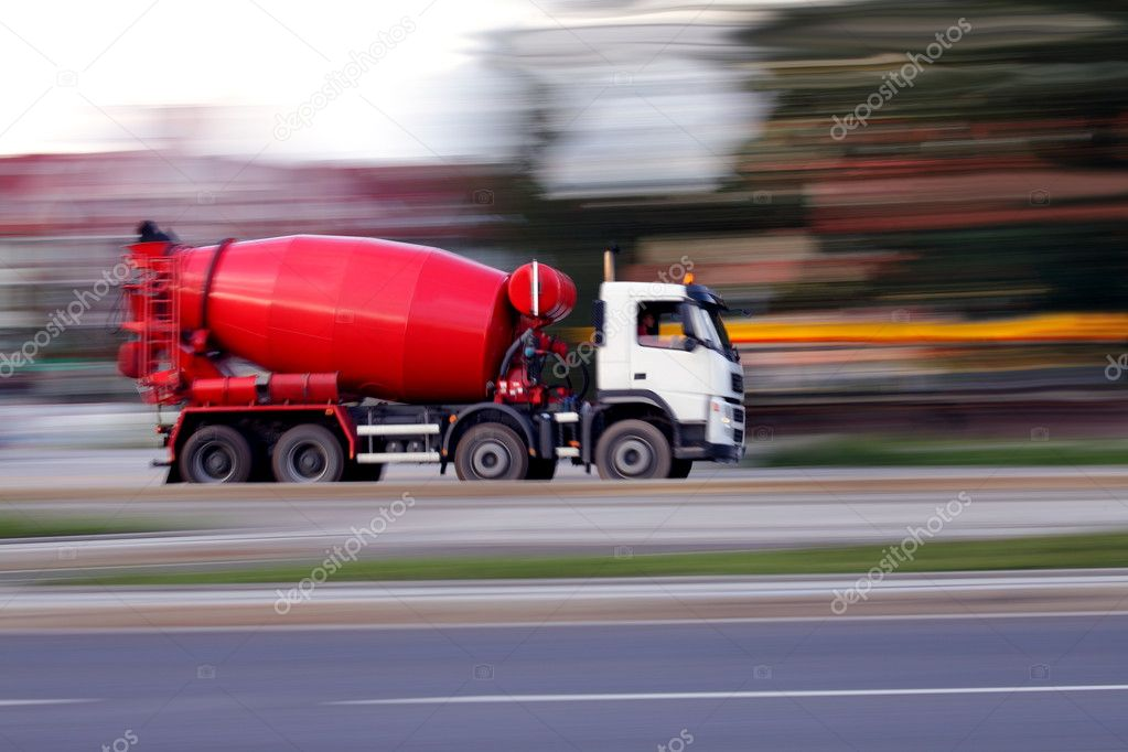 Blur red concrete mixer is going to build soon