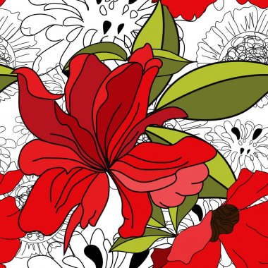 Floral seamless pattern with red flowers