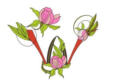 Floral font 2. Letter W