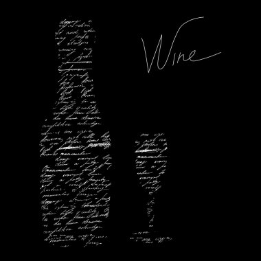 Stylized black background with inscription wine