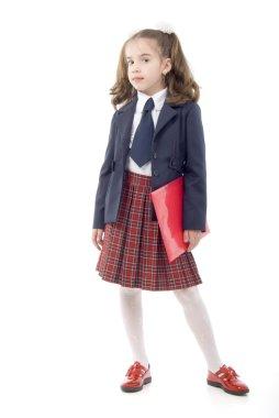Schoolgirl With Red Folder