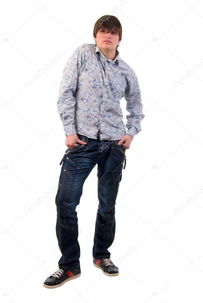 0dfb3f7fe modernos jeans hombre adulto joven — Fotos de Stock © aakbar  2989564