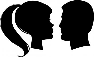 Vector man and woman profiles