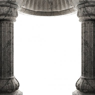 Stone columns and arch