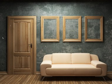 Sofa, door and frames