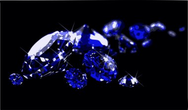 Sapphires on black surface (vector)