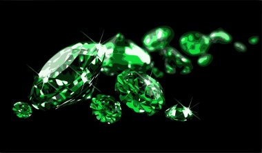 Emeralds on black surface (vector)