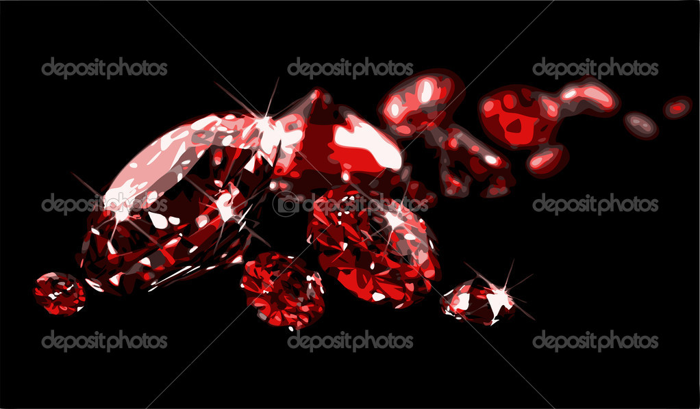 Rubies on black surface (vector)