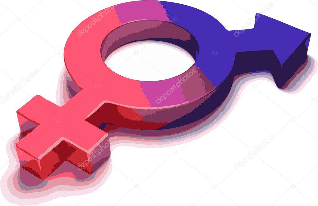 Vector symbol of masculinity and femininity
