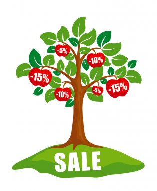Sale concept: tree with discounts