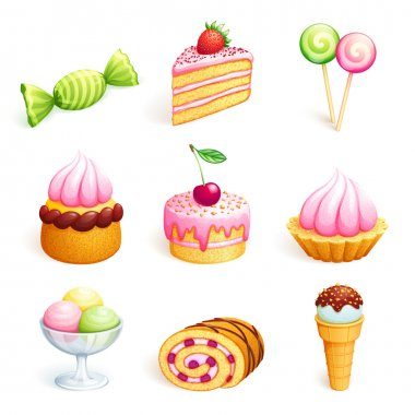 Set of sweets. Vector EPS10. stock vector